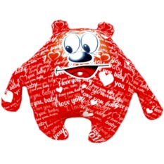 Красная подушка-игрушка Мишка I love you