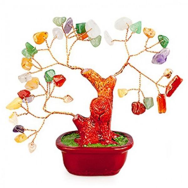 Бонсай Микс камней (дерево счастья из натуральных камней) 14 см
