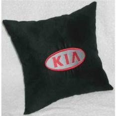 Черная подушка с красной вышивкой Kia