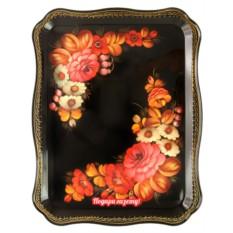 Поднос с художественной росписью Осенний цветочный узор