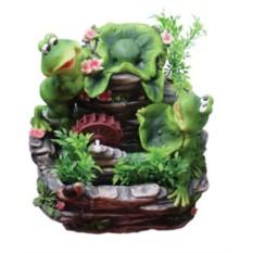 Настольный фонтан Две лягушки с колесиком и цветами