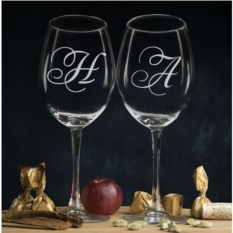 Комплект персональных бокалов для вина Инициалы