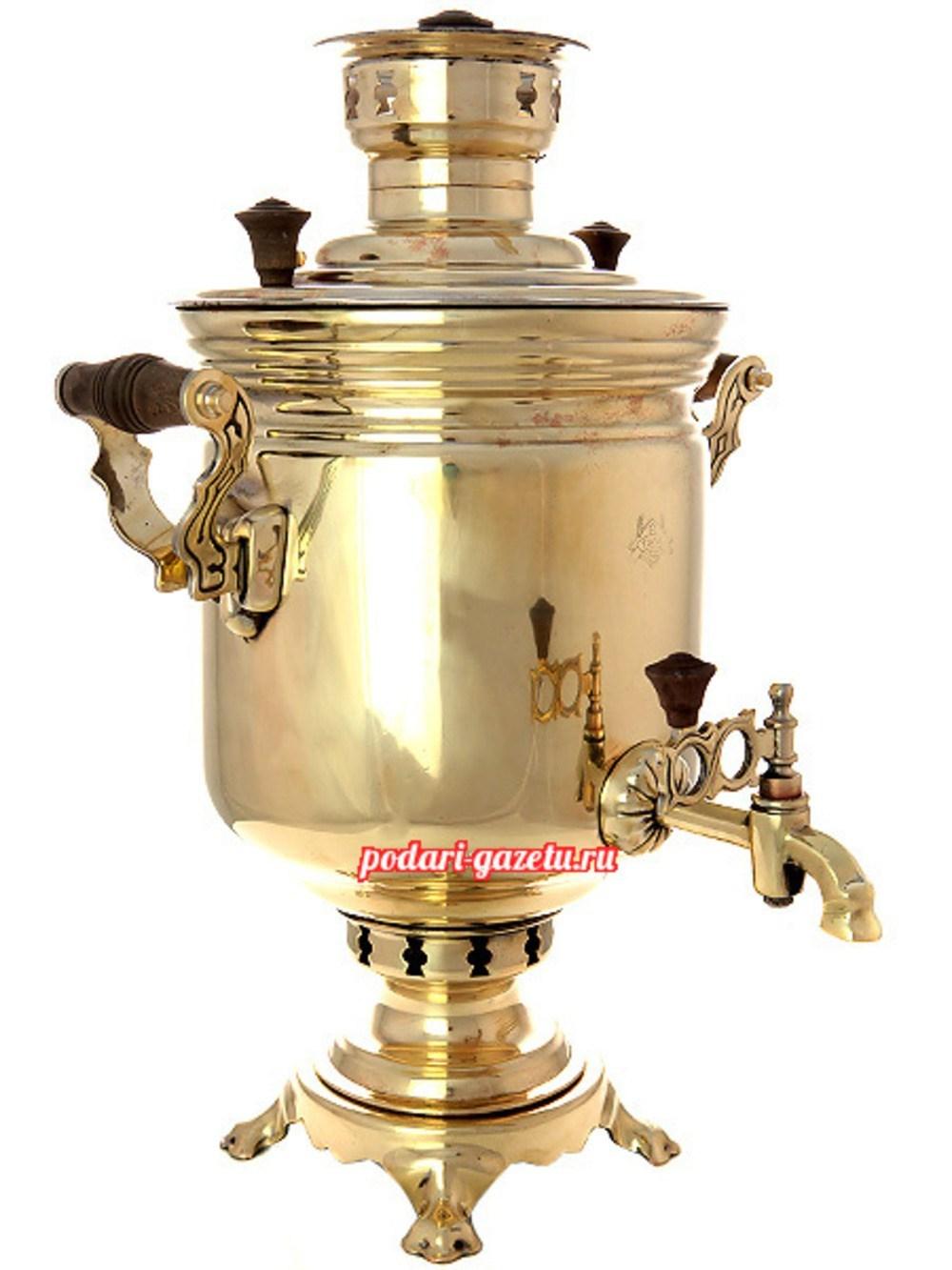 Угольный самовар (жаровый, дровяной) (5 литров), латунный цилиндр, произведен во второй половине XX века
