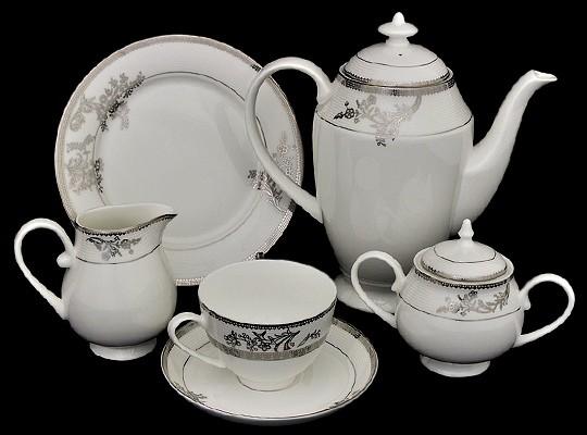 Чайный сервиз на 6 персон Emerald Серебряные узоры