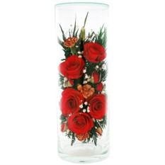 Букет-композиция из натуральных красных роз в стекле