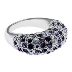 Кольцо Дива, сиреневое, кристаллы Swarovski