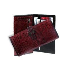Бордовое женское портмоне из кожи питона