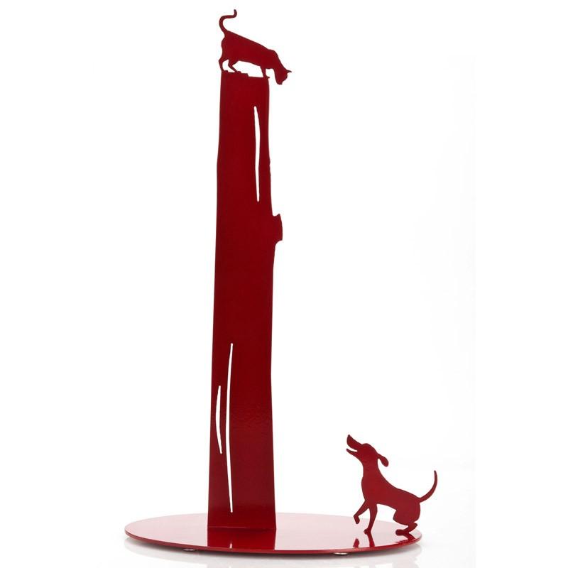 Держатель для бумажных полотенец Dog vs. Cat, красный