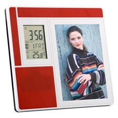 Рамка для фотографии 9х13 см с часами, датой, термометром, красная