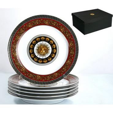 Набор тарелок из 6 шт «Греческие мотивы» бордовый.