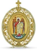 Серебряная настольная икона с финифтьевым образом Ангел хранитель