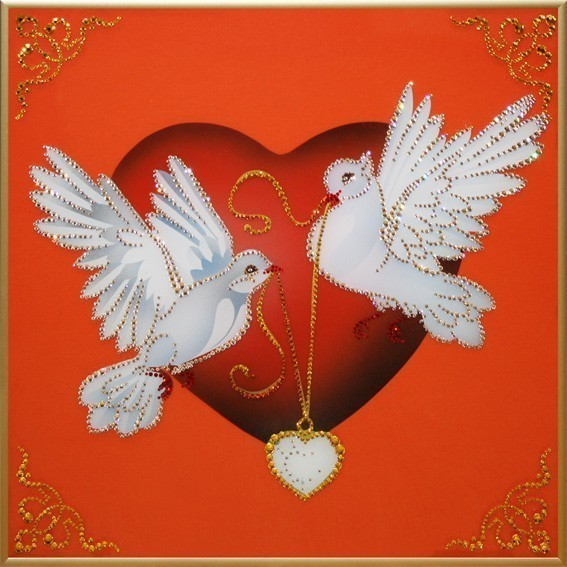 Картина Swarovski Влюбленное счастье, 1730 кристаллов, 40х40