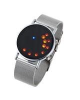 Часы LED круглые (зеркало-стальной ремешок)