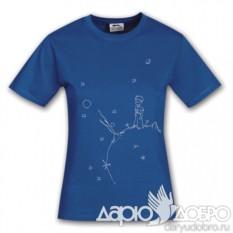 Женская футболка Маленький Принц на планете, синяя