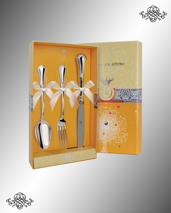 Серебряный десертный набор Фаворит, с ножом
