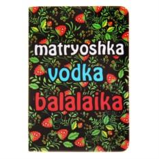 Обложка для паспорта Matryoshka, vodka, balalaika