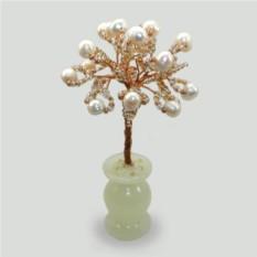 Миниатюрное дерево жизни из жемчуга в вазочке из оникса