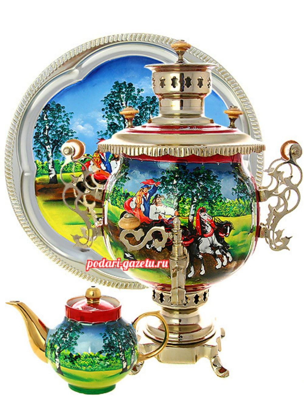 Набор: комбинированный самовар (электрический/угольный) на 4,5 литра с художественной росписью Тройка