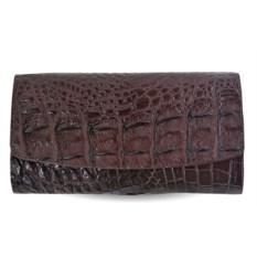 Женский кожаный кошелек из крокодила (цвет - коричневый)