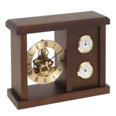 Настольный деревянный гигрометр с термометром и часами