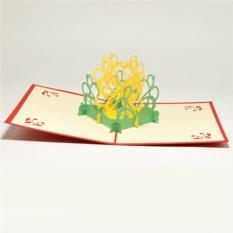 Объемная открытка 3D Цветок и бабочка