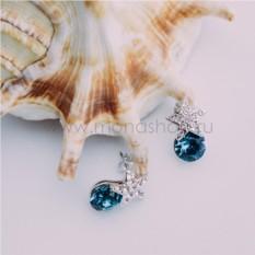 Серьги «Звездочки» с синими кристаллами Сваровски