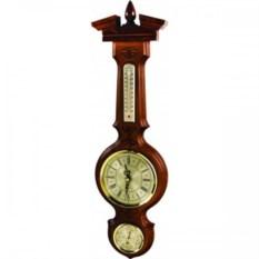 Коричневые часы из бука с барометром и термометром