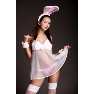 Эротический комплект в виде зайчика, белый