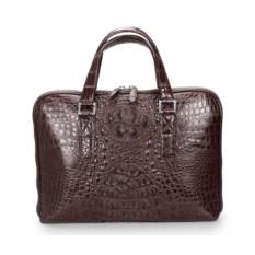 Мужская коричневая деловая сумка из кожи крокодила