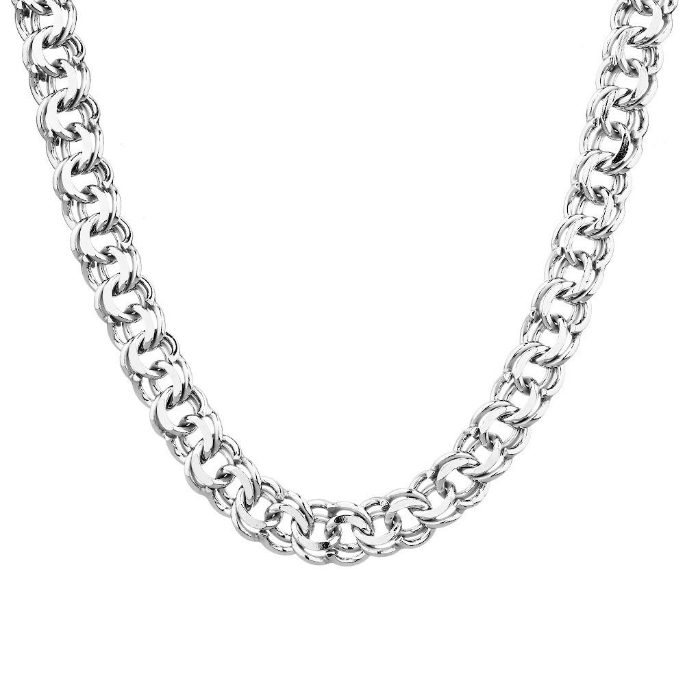Крупная серебряная мужская цепь плетения гарибальди