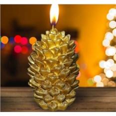 Новогодняя свеча «Шишка золотая»