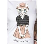 Женская футболка с вашим текстом Белая кошка