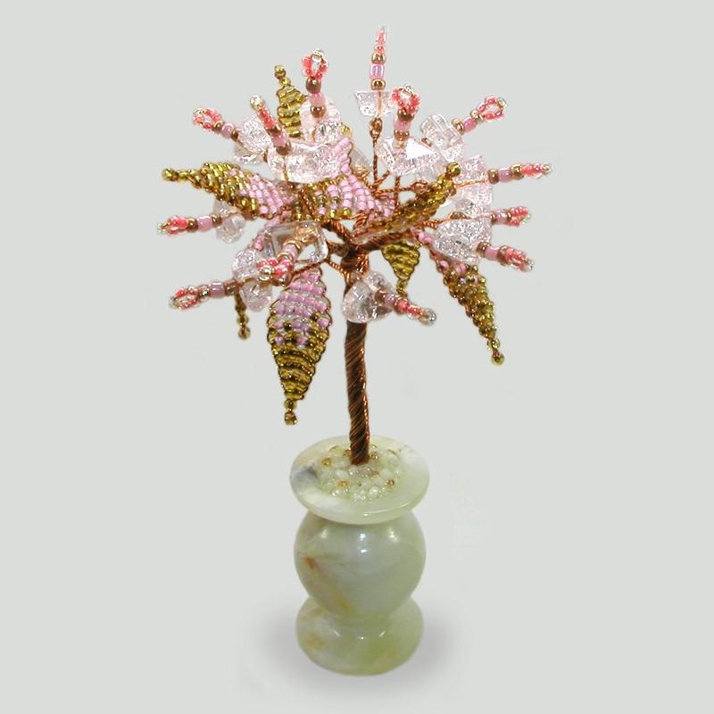 Семейное дерево из розового кварца в вазочке из оникса