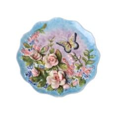 Декоративная настенная тарелка «Бабочка на полянке»