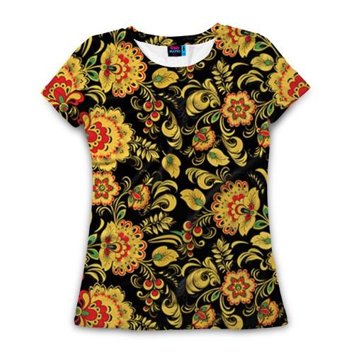 Женская футболка 3D с полной запечаткой Хохлома