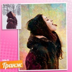 Гранж портрет по фотографии Девушка и снежинки