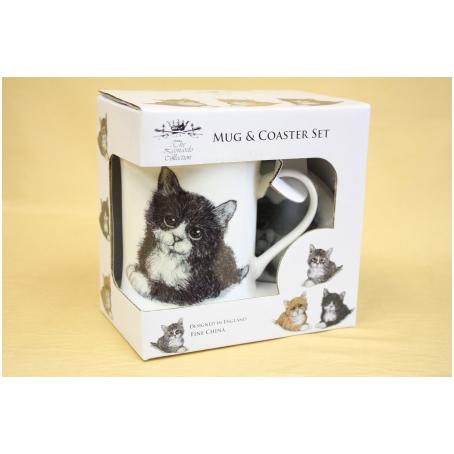 Кружка с подставкой «Чёрная кошка»