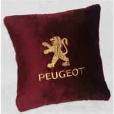 Бордовая подушка с золотой вышивкой Peugeot