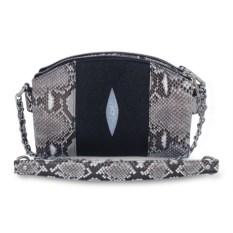 Женская сумка из ската и питона (цвет: черный, натуральный)