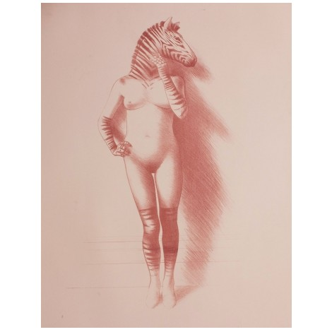 Красивое животное Женщина-Зебра