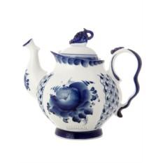 Керамический чайник с росписью Гжель. Голубая рапсодия