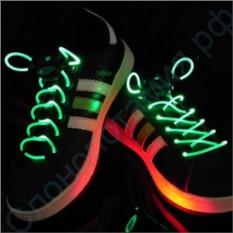 Светящиеся зеленые LED шнурки