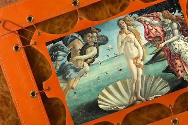 Картина из кожи Рождение Венеры Боттичелли (прямоуг. рама)