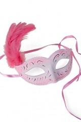 Карнавальный сувенир Маска Арлекин, бело-розовая