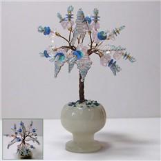 Миниатюрное дерево счастья из кварца в вазочке из оникса