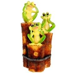 Декоративная садовая фигура Три лягушки на пеньках