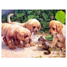 Картина-раскраска по номерам на холсте Новые друзья