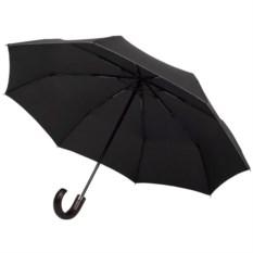 Складной черный зонт с серой окантовкой Wood Classic