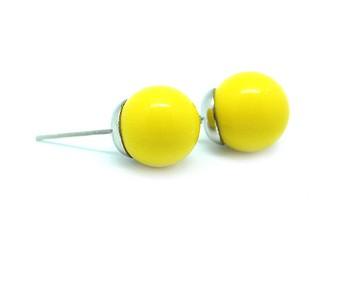Желтые серьги-гвоздики Бусины