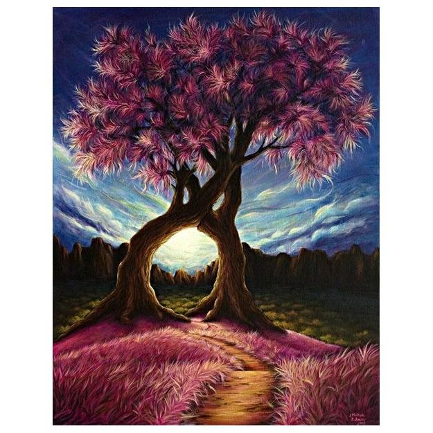 Картина-раскраска по номерам на холсте Древо любви